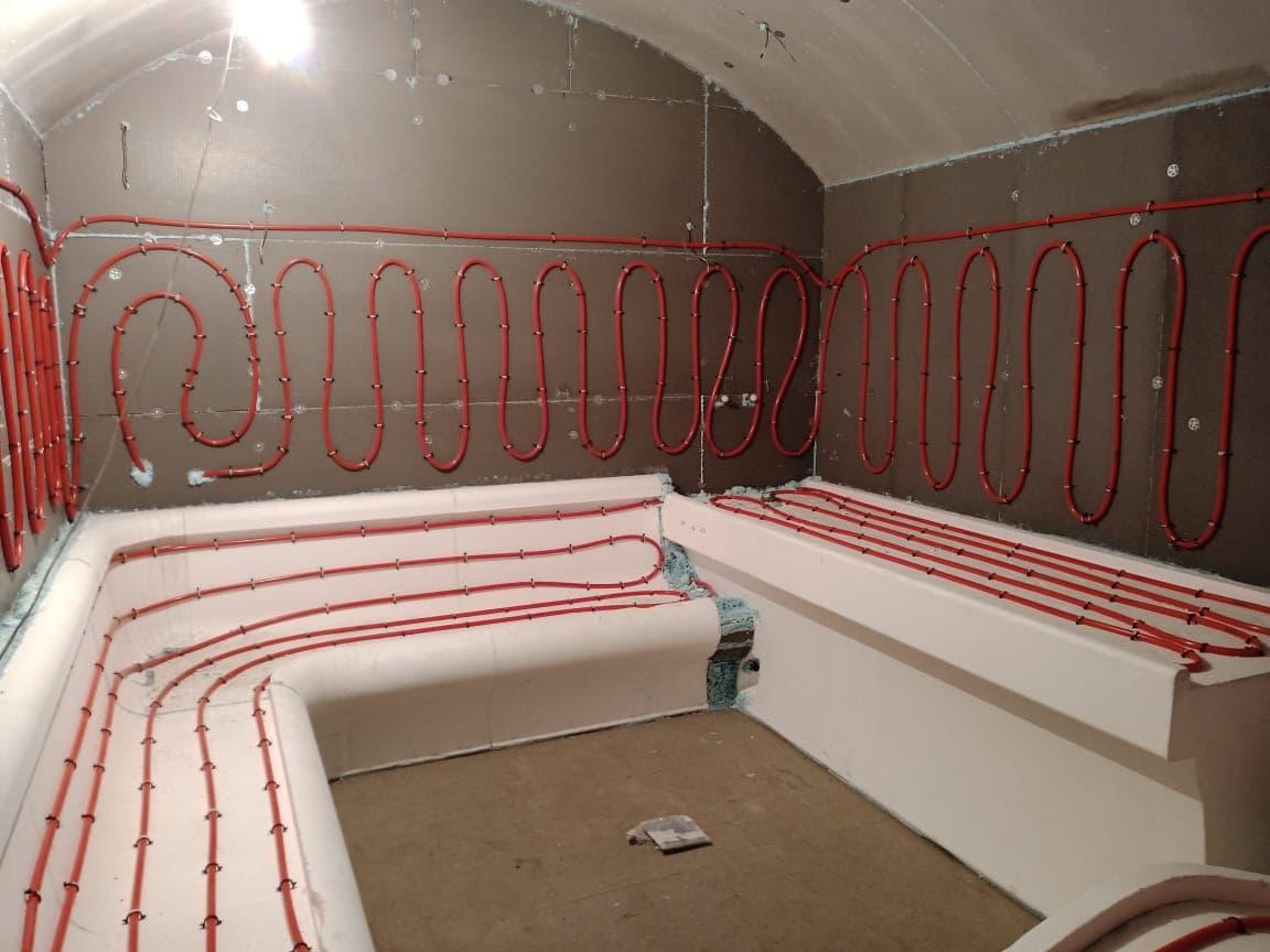 Монтаж теплого пола в турецкой бани